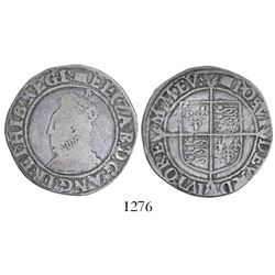 London, England, shilling, Elizabeth I, 5th issue, mintmark woolpack (1594-6).