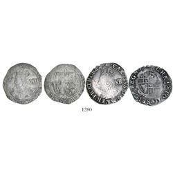 Lot of two English shillings of Charles I (1625-49), one with mintmark tun visible (1636-8).