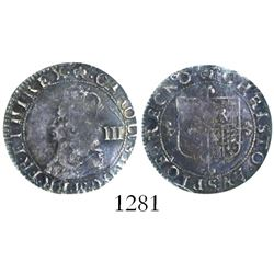 London, England, threepence, Charles II, third issue (hammered coinage, 1660-62), encapsulated PCGS