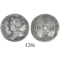 Great Britain (London, England), sixpence, Anne, 1703, with VIGO below bust.