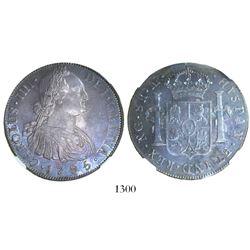 Guatemala, bust 8 reales, Charles IV, 1795/4M, rare overdate, encapsulated NGC AU 50.