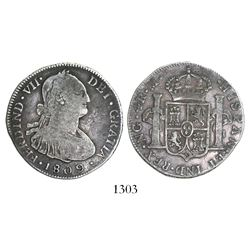 Guatemala, bust 4 reales, Ferdinand VII (bust of Charles IV), 1809M.