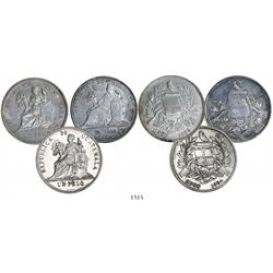 Lot of 3 Guatemala silver pesos, dates as follows: 1872, 1894 and 1896.