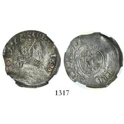 Naples under Spain (Italian States), 1 tari, Philip IV, 1622, encapsulated NGC AU 53.