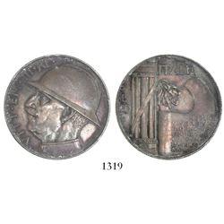 Italy (Kingdom), 20 lire, Vittorio Emmanuel III, 1928-R (AN VI), WWI commemorative.