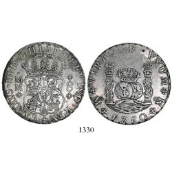 Mexico City, Mexico, pillar 8 reales, Charles III, 1760MM, CAROLVS over FERDND, rare, with small cho