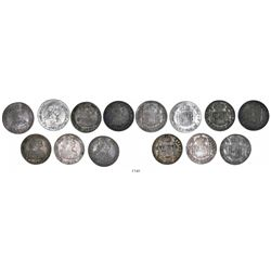 Lot of 7 Mexico City, Mexico, bust 2 reales, Charles III and IV, various dates: 1772FM (initials fac