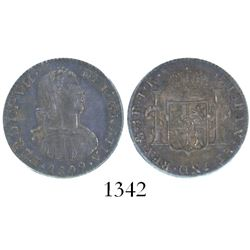 "Mexico City, Mexico, bust 1 real, Ferdinand VII (""armored bust""), 1809TH, encapsulated PCGS MS 62."