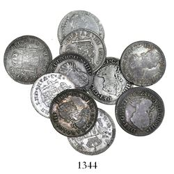 Lot of 10 Mexico City, Mexico, bust 1/2 reales, Charles III and IV, various dates: 1780FF (2), 1783F