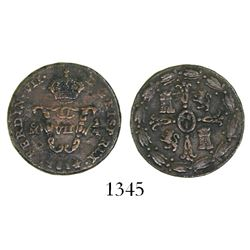 Mexico City, Mexico, copper 1/4 tlaco (1/8 real), Ferdinand VII, 1814.