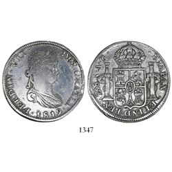 Zacatecas, Mexico, bust 8 reales, Ferdinand VII, 1819/9181AG, rare.