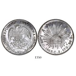 Culiacan, Mexico, cap-and-rays 8 reales, 1863CE.
