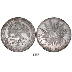 Alamos, Mexico, cap-and-rays 8 reales, 1879DL.