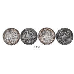 Lot of 2 Guadalajara, Mexico, cap-and-rays 1R, 1841GMC and 1860/59GaJG, both somewhat rare.