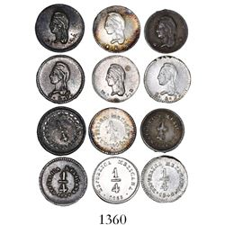 Lot of 6 Mexican 1/4 reales, various mints and dates: 1842SLPi, 1842MoLR, 1844SLPi, 1845/4SLPi, 1843