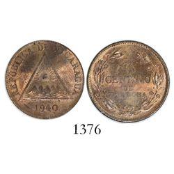 Nicaragua, bronze 1 centavo, 1940, encapsulated PCGS MS64.