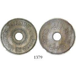 Palestine, copper-nickel 20 mils, 1941, key date, encapsulated NGC MS 62.