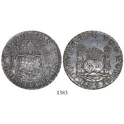 Lima, Peru, pillar 8 reales, Ferdinand VI, 1757JM.