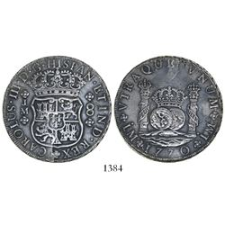 Lima, Peru, pillar 8 reales, Charles III, 1770JM, dots over both mintmarks.