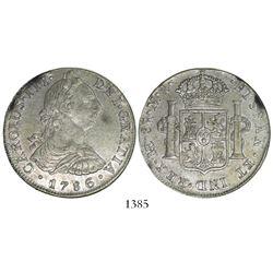 Lima, Peru, bust 8 reales, Charles III, 1786MI.