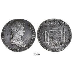 Lima, Peru, bust 8 reales, Ferdinand VII, 1823JP, rare.