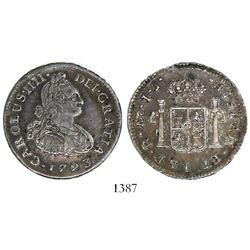 Lima, Peru, bust 1/2 real, Charles IV (large bust), 1793IJ.