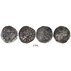 Lot of 2 Lisbon, Portugal, 50 reis (meio tostaos), Phillip II or III (late 1500s to early 1600s).