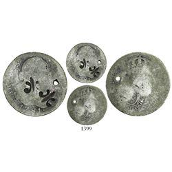 Puerto Rico (under Spain), 1/4 dollar, fleur-de-lis countermark (1884) applied twice on a Spanish bu