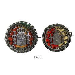 Lot of 2 Puerto Rico (under Spain) 40 centavos (1896) and 20 centavos (1895), both cut around revers