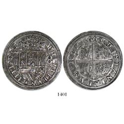 Segovia, Spain, milled 8 reales, Philip IV, 1660BR, vertical aqueduct, encapsulated NGC AU details /