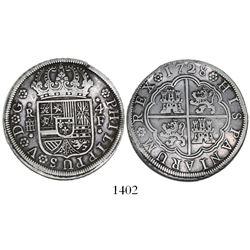 "Segovia, Spain, milled 4 reales ""double pistareen,"" Philip V, 1728F."