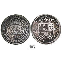 "Barcelona, Spain, milled 2 reales ""pistareen,"" Charles III Pretender, 1708/7."