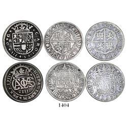 "Lot of 3 Spanish milled 2 reales ""pistareens"": Barcelona, Charles III Pretender, 1711; Seville, Char"