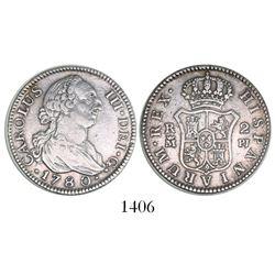Madrid, Spain, bust 2 reales, Charles III, 1780PJ.