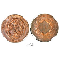 Barcelona, Spain (Catalan Union), copper 10 centimos, 1900, encapsulated NGC MS 64 BN.