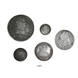 Lot of 5 Spanish/Spanish colonial silver coins of the early 1800s: 8R Zacatecas 1821RG; 2R Lima 1807