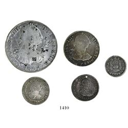 Lot of 5 Spanish colonial silver coins of the 1700s-1800s: 8R Mexico 1807TH chopmarks; 2R Potosi 178