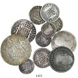 Lot of 11 Spanish colonial bust-type minors: 4R (1): Potosi 1803PJ; 2R (3): Lima 1777MJ; Mexico 1787