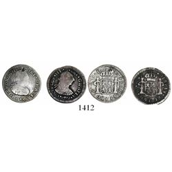 Lot of 2 Spanish colonial bust 1/2R, as follows: Guatemala, Charles III, 1772P; Popayan, Colombia, F