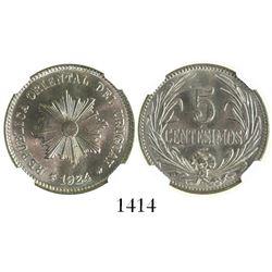 Uruguay (struck in Philadelphia), copper-nickel 5 centesimos, 1924, encapsulated NGC MS 67, tied for