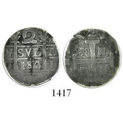 "Caracas, Venezuela, ""imitation cob"" 2 reales, ""184"" date (early 1800s), encapsulated NGC VG 8."
