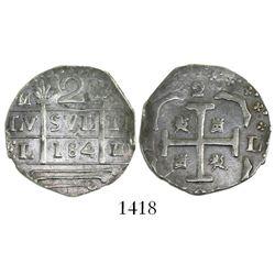 "Caracas, Venezuela, ""imitation cob"" 2 reales, ""184"" date (early 1800s)."