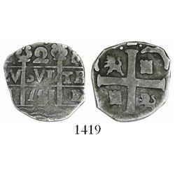 "Caracas, Venezuela, ""imitation cob"" 2 reales, ""751"" date (early 1800s), rare."
