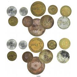 Lot of 10 Colombian tokens in various metals (brass, copper, aluminum, copper-nickel), 1800s-1900s.