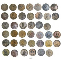 """Research collection of 20 British copper """"COLUMBIA"""" farthing tokens, believed to be struck 1820-30."""