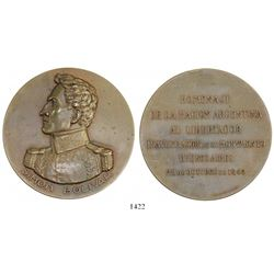 Buenos Aires, Argentina, large copper medal, 1942, inauguration of Simon Bolivar monument.