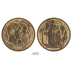 Belgium, copper 5 franc-sized medal, Leopold II, 1880, 50th anniversary of Independence.