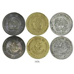 Lot of 3 Bogota, Colombia, medals (one in gilt copper, one in silver and one in copper), dated 1892,