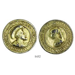 Lorraine, France, gilt cast-copper medal commemorating the marriage of Antoine of Lorraine to Renee