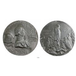 "Naples and Sicily, Italian States, huge lead medal, Alfonso V, ""Liberalitas Augusta,"" 1449, by Pisan"